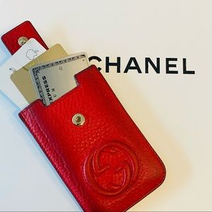 Authentic Gucci Red Leather GG Card Case